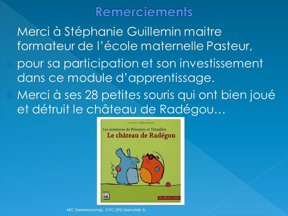 Merci à Stéphanie Guillemin maitre formateur de lécole maternelle Pasteur, pour sa participation et son investissement dans ce module dapprentissage.