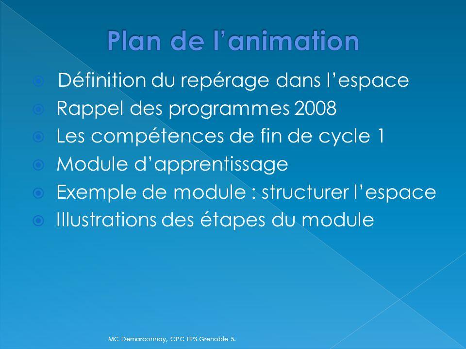 Définition du repérage dans lespace Rappel des programmes 2008 Les compétences de fin de cycle 1 Module dapprentissage Exemple de module : structurer