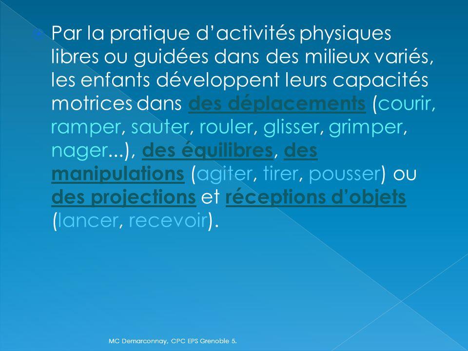Par la pratique dactivités physiques libres ou guidées dans des milieux variés, les enfants développent leurs capacités motrices dans des déplacements