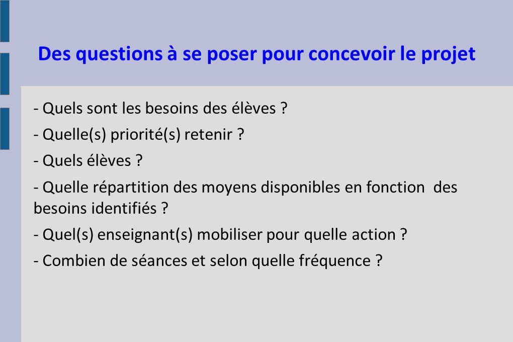 Des questions à se poser pour concevoir le projet - Quels sont les besoins des élèves ? - Quelle(s) priorité(s) retenir ? - Quels élèves ? - Quelle ré