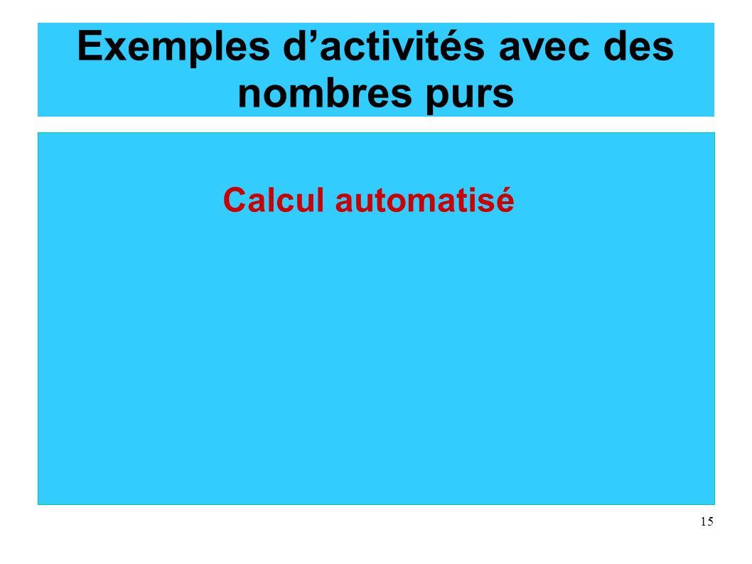 15 Exemples dactivités avec des nombres purs Calcul automatisé