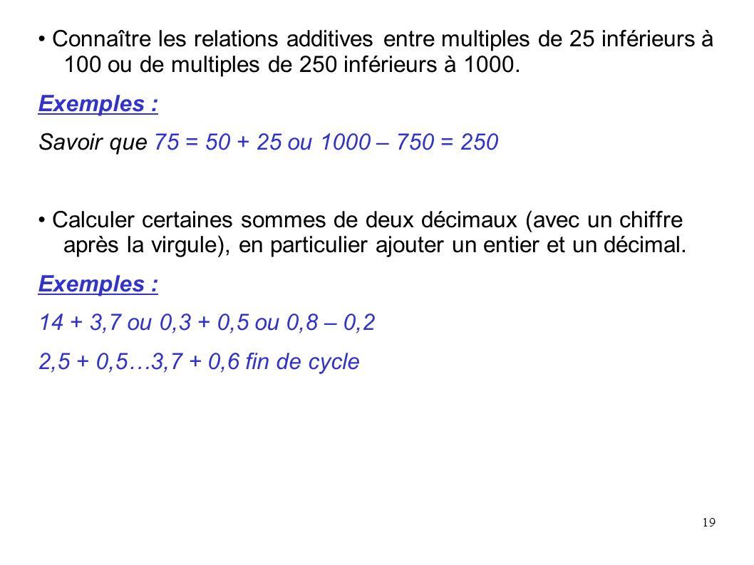 19 Connaître les relations additives entre multiples de 25 inférieurs à 100 ou de multiples de 250 inférieurs à 1000. Exemples : Savoir que 75 = 50 +