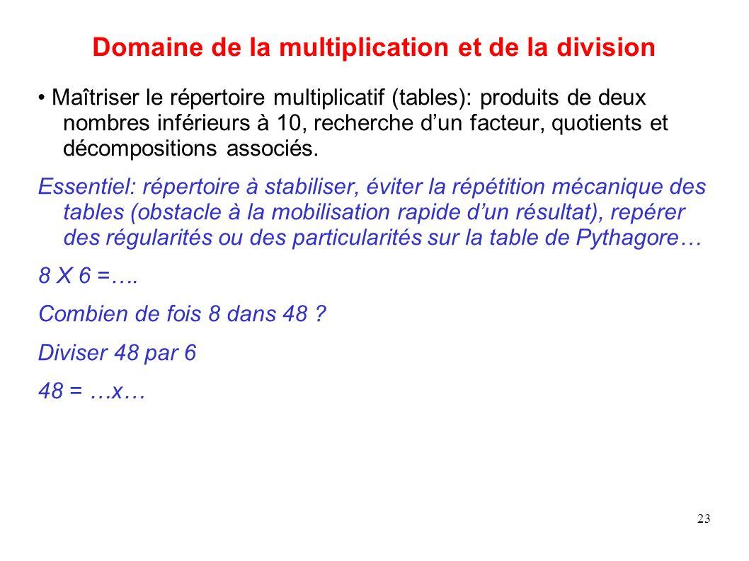 23 Domaine de la multiplication et de la division Maîtriser le répertoire multiplicatif (tables): produits de deux nombres inférieurs à 10, recherche