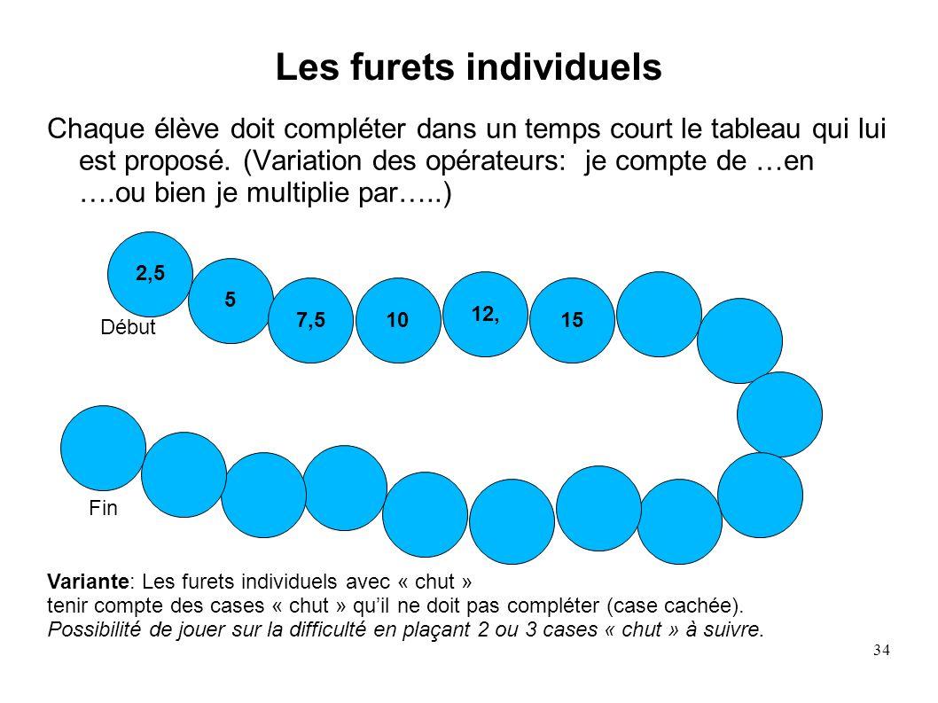 34 Les furets individuels Chaque élève doit compléter dans un temps court le tableau qui lui est proposé. (Variation des opérateurs: je compte de …en