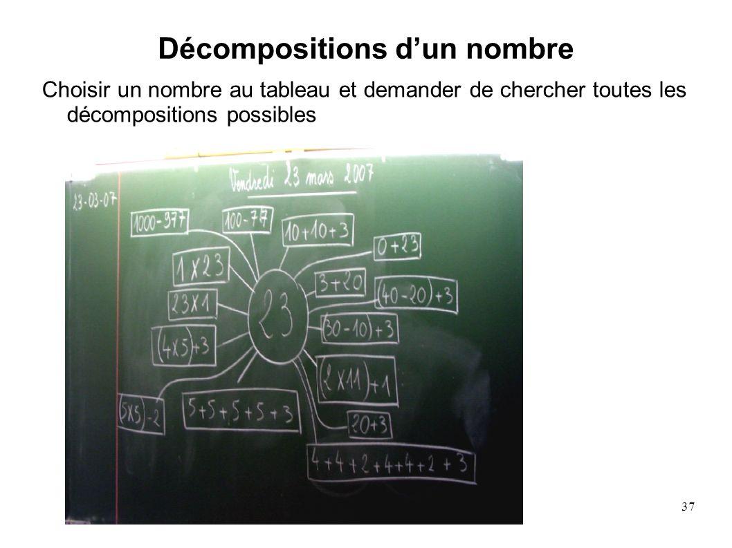 37 Décompositions dun nombre Choisir un nombre au tableau et demander de chercher toutes les décompositions possibles