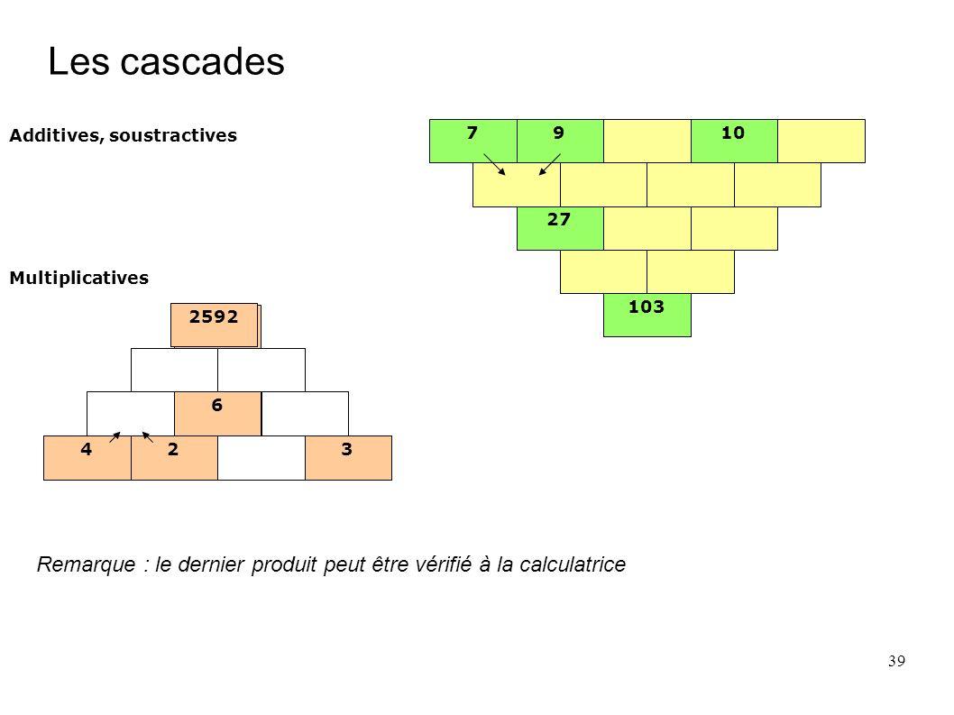 39 Les cascades 7910 27 103 Additives, soustractives 2592 24 6 3 Multiplicatives 2592 24 6 3 24 6 3 Remarque : le dernier produit peut être vérifié à