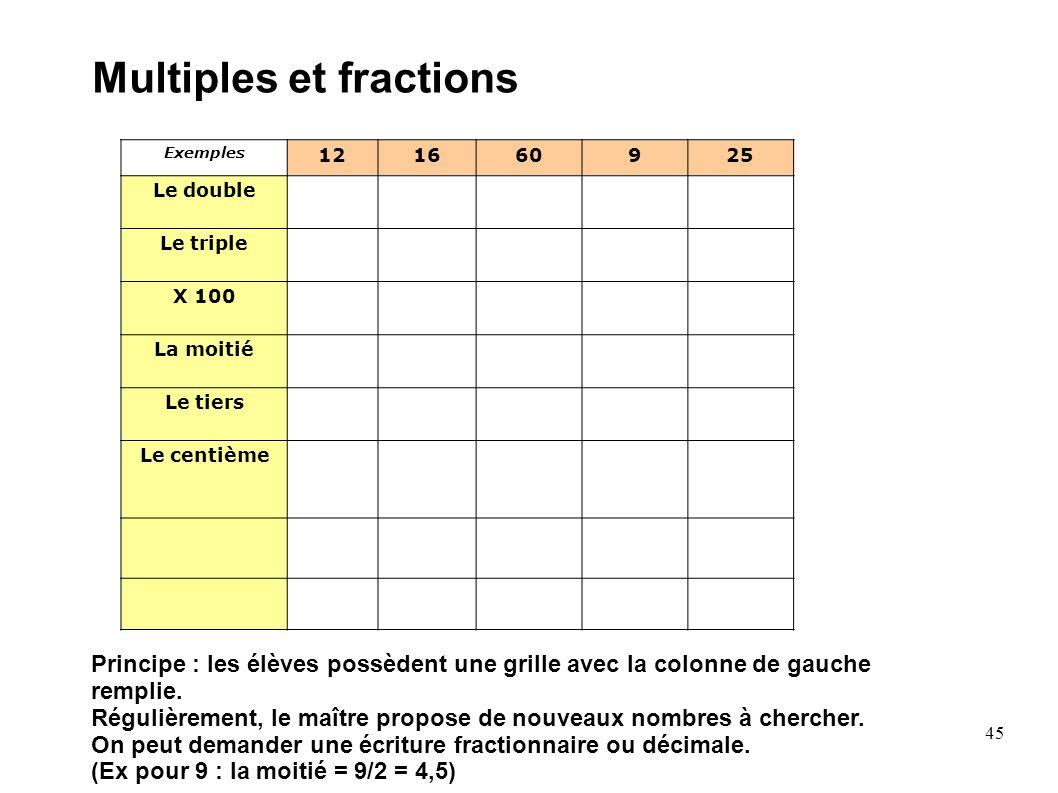 45 Multiples et fractions Exemples 121660925 Le double Le triple X 100 La moitié Le tiers Le centième Principe : les élèves possèdent une grille avec