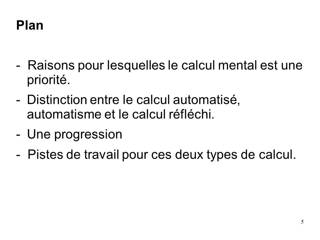 5 Plan - Raisons pour lesquelles le calcul mental est une priorité. -Distinction entre le calcul automatisé, automatisme et le calcul réfléchi. -Une p