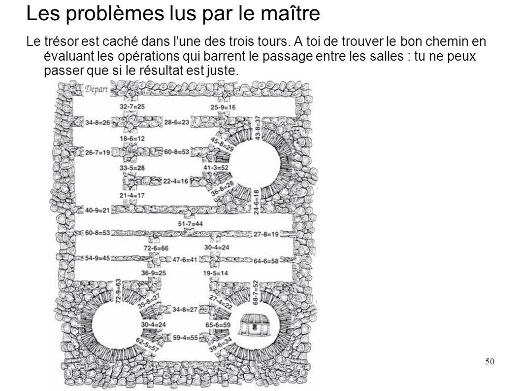 50 Les problèmes lus par le maître Le trésor est caché dans l'une des trois tours. A toi de trouver le bon chemin en évaluant les opérations qui barre