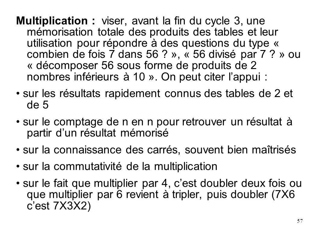 57 Multiplication : viser, avant la fin du cycle 3, une mémorisation totale des produits des tables et leur utilisation pour répondre à des questions