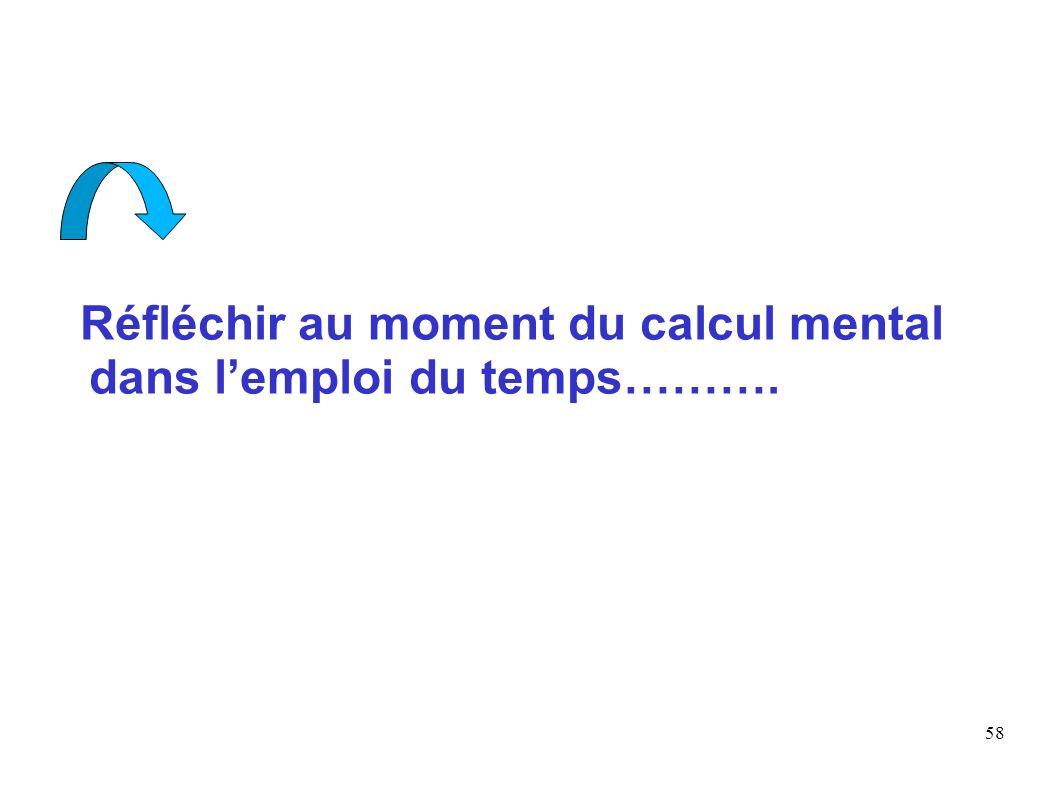 58 Réfléchir au moment du calcul mental dans lemploi du temps……….