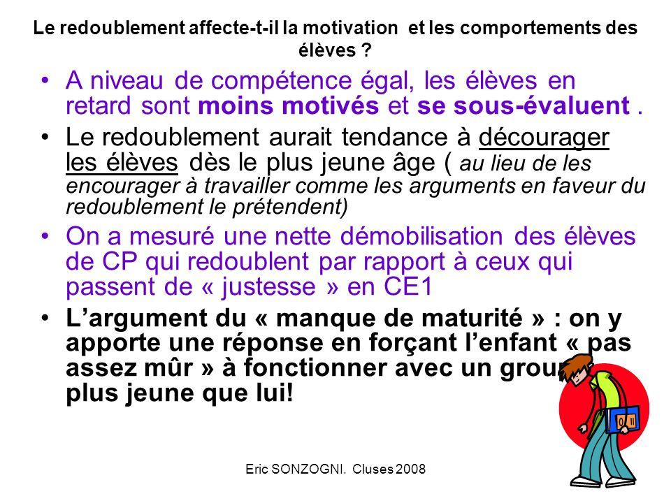 Eric SONZOGNI. Cluses 2008 Le redoublement affecte-t-il la motivation et les comportements des élèves ? A niveau de compétence égal, les élèves en ret