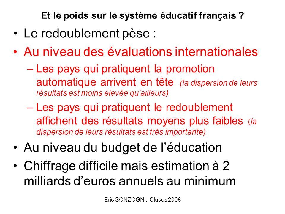 Eric SONZOGNI. Cluses 2008 Et le poids sur le système éducatif français ? Le redoublement pèse : Au niveau des évaluations internationales –Les pays q