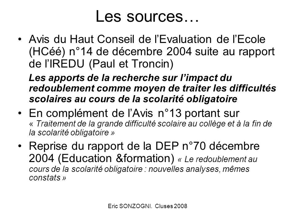 Eric SONZOGNI. Cluses 2008 Les sources… Avis du Haut Conseil de lEvaluation de lEcole (HCéé) n°14 de décembre 2004 suite au rapport de lIREDU (Paul et