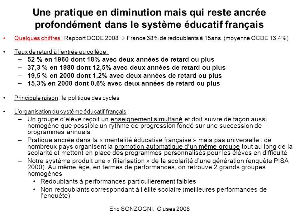 Eric SONZOGNI. Cluses 2008 Une pratique en diminution mais qui reste ancrée profondément dans le système éducatif français Quelques chiffres : Rapport