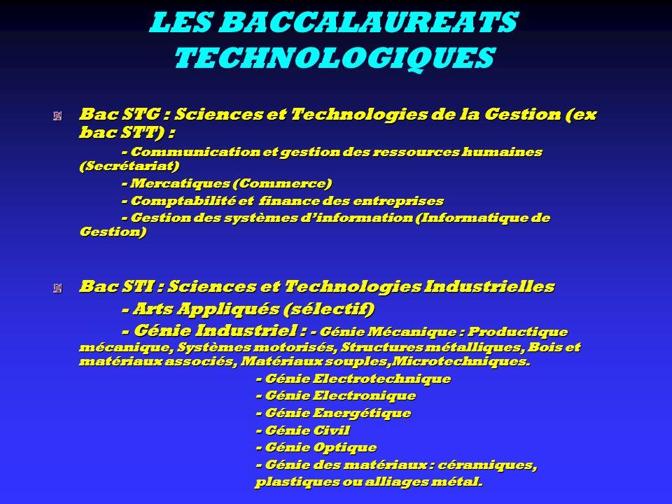 LES BACCALAUREATS TECHNOLOGIQUES Bac STG : Sciences et Technologies de la Gestion (ex bac STT) : - Communication et gestion des ressources humaines (S