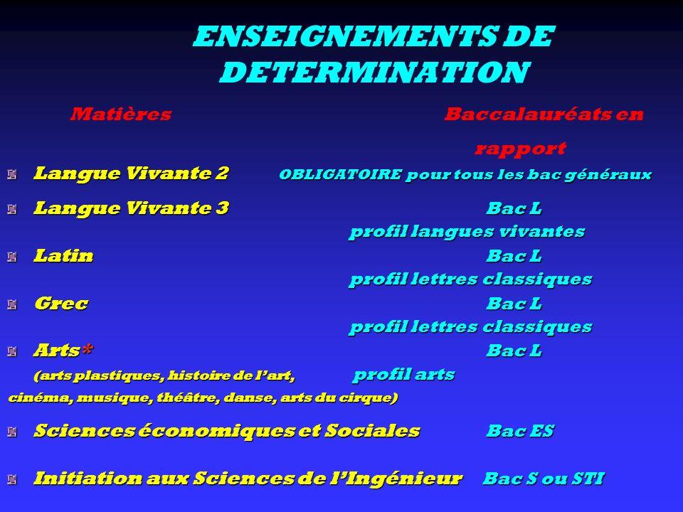 ENSEIGNEMENTS DE DETERMINATION Langue Vivante 2 OBLIGATOIRE pour tous les bac généraux Langue Vivante 3 Bac L profil langues vivantes profil langues v