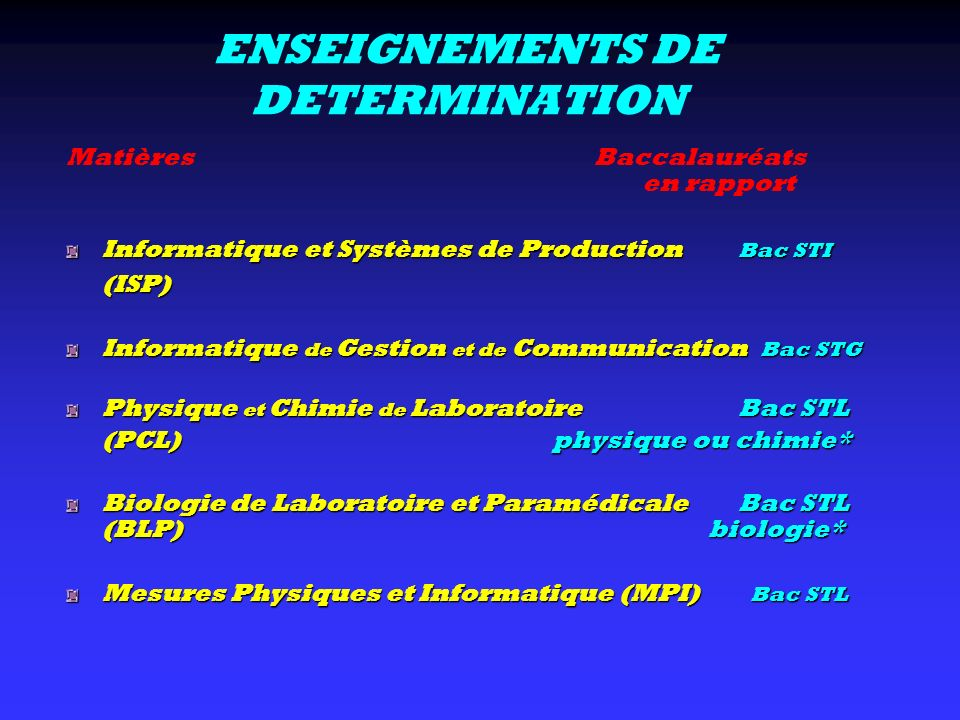 ENSEIGNEMENTS DE DETERMINATION Matières Baccalauréats en rapport Informatique et Systèmes de Production Bac STI (ISP) Informatique de Gestion et de Co