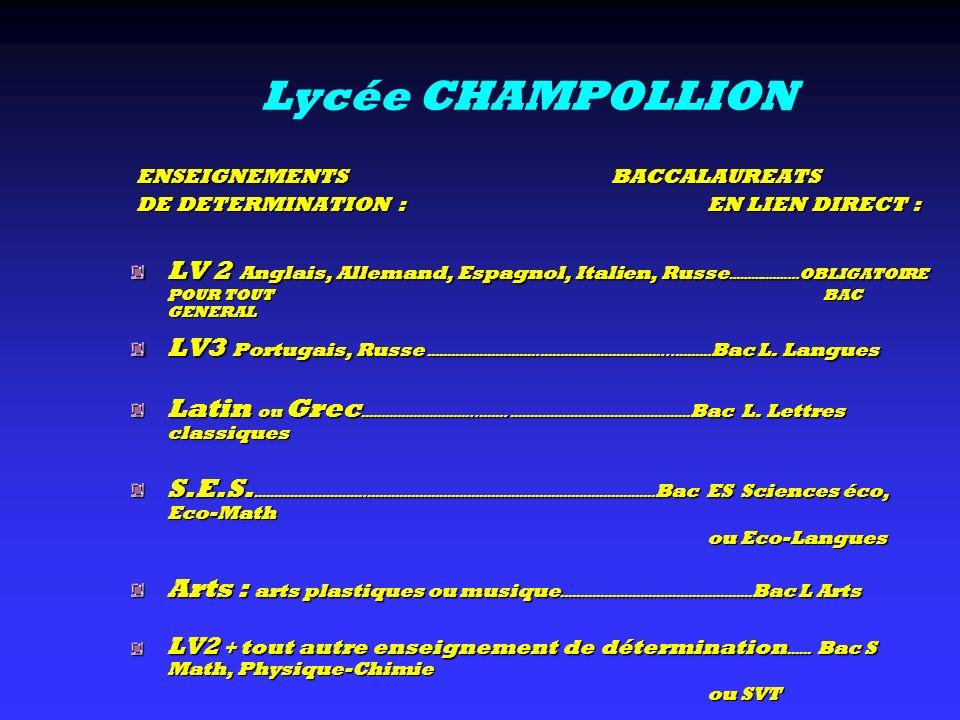 Lycée CHAMPOLLION ENSEIGNEMENTS BACCALAUREATS ENSEIGNEMENTS BACCALAUREATS DE DETERMINATION : EN LIEN DIRECT : DE DETERMINATION : EN LIEN DIRECT : LV 2
