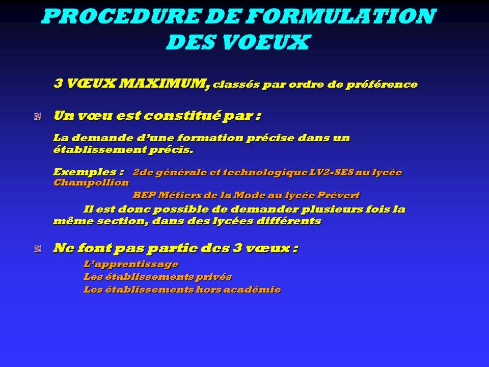 PROCEDURE DE FORMULATION DES VOEUX 3 VŒUX MAXIMUM, classés par ordre de préférence Un vœu est constitué par : La demande dune formation précise dans u