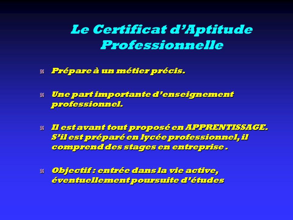 Le Certificat dAptitude Professionnelle Prépare à un métier précis. Une part importante denseignement professionnel. Il est avant tout proposé en APPR