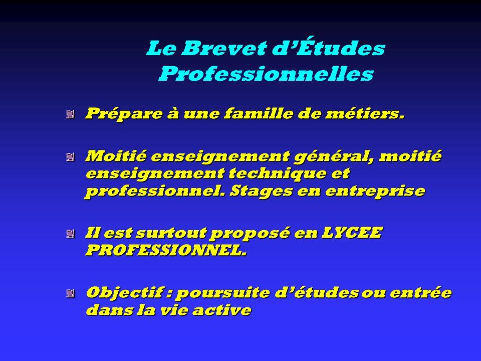 Le Brevet dÉtudes Professionnelles Prépare à une famille de métiers. Moitié enseignement général, moitié enseignement technique et professionnel. Stag