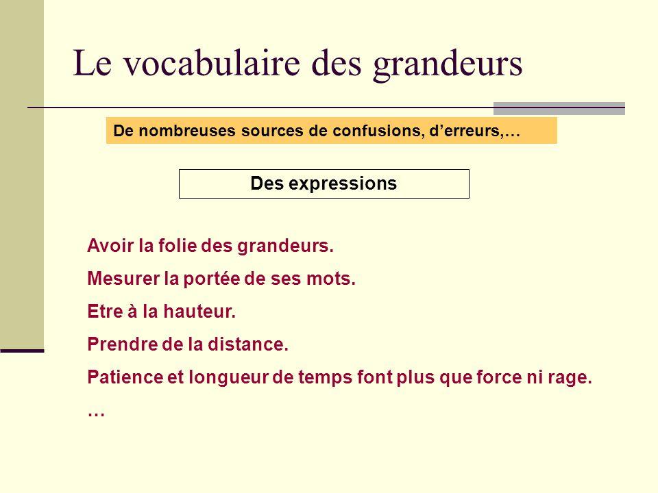 Le vocabulaire des grandeurs De nombreuses sources de confusions, derreurs,… Des expressions Avoir la folie des grandeurs. Mesurer la portée de ses mo