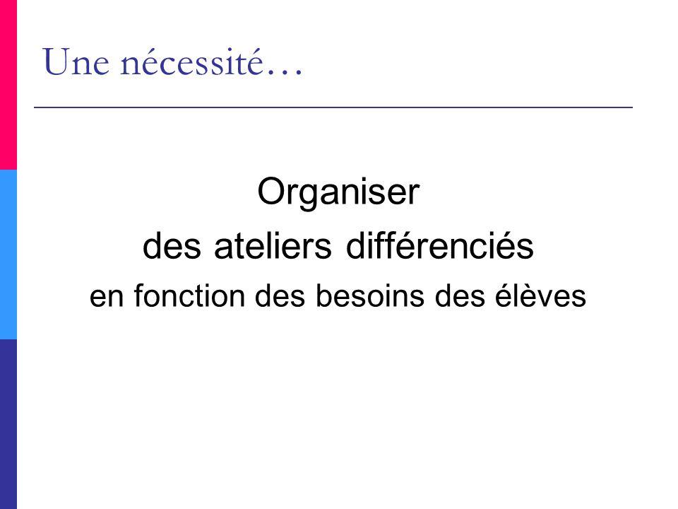 Organiser des ateliers différenciés en fonction des besoins des élèves Une nécessité…