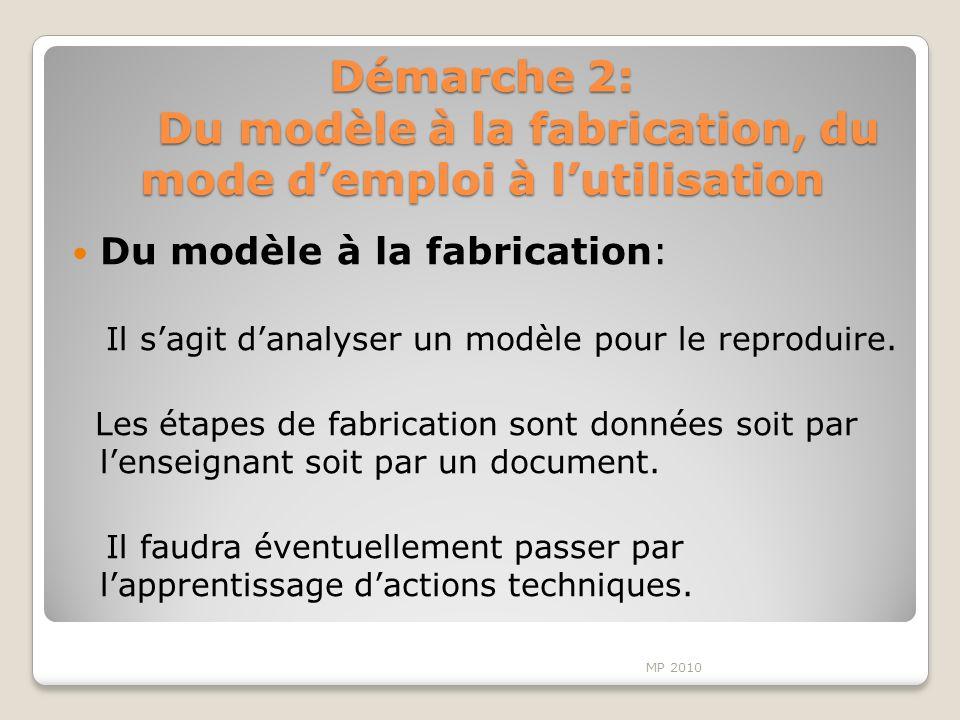 Démarche 2: Du modèle à la fabrication, du mode demploi à lutilisation Du modèle à la fabrication: Il sagit danalyser un modèle pour le reproduire. Le
