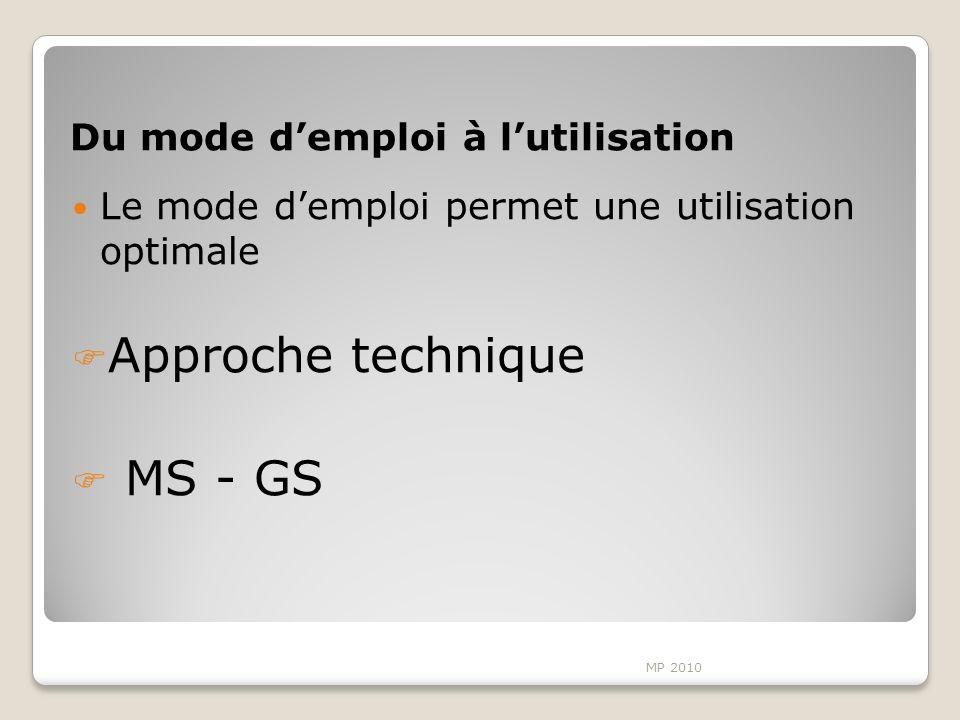 Du mode demploi à lutilisation Le mode demploi permet une utilisation optimale Approche technique MS - GS MP 2010