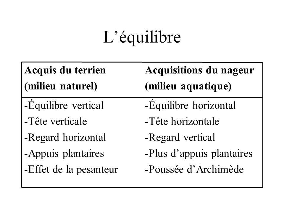 Léquilibre -Équilibre horizontal -Tête horizontale -Regard vertical -Plus dappuis plantaires -Poussée dArchimède -Équilibre vertical -Tête verticale -