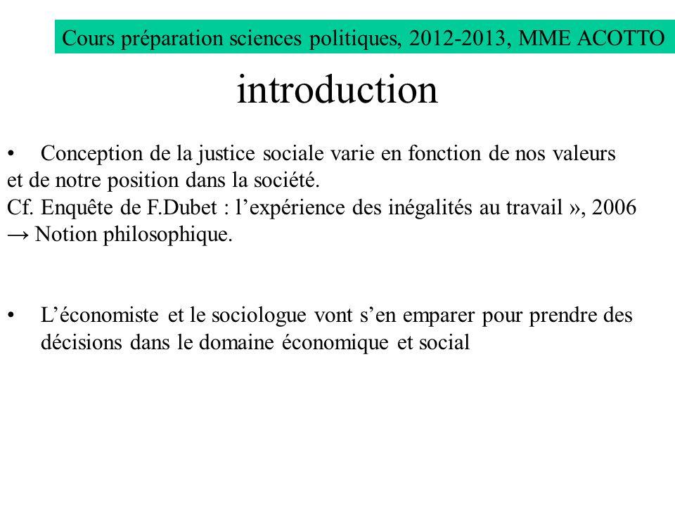 Cours préparation sciences politiques, 2012-2013, MME ACOTTO Conception de la justice sociale varie en fonction de nos valeurs et de notre position da
