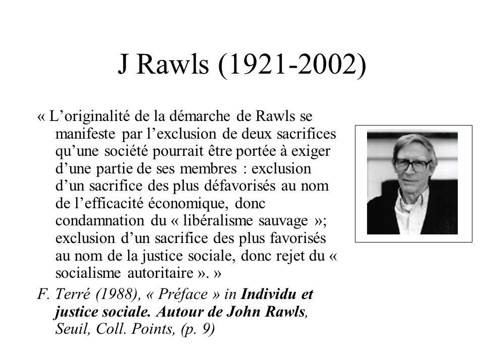 J Rawls (1921-2002) « Loriginalité de la démarche de Rawls se manifeste par lexclusion de deux sacrifices quune société pourrait être portée à exiger