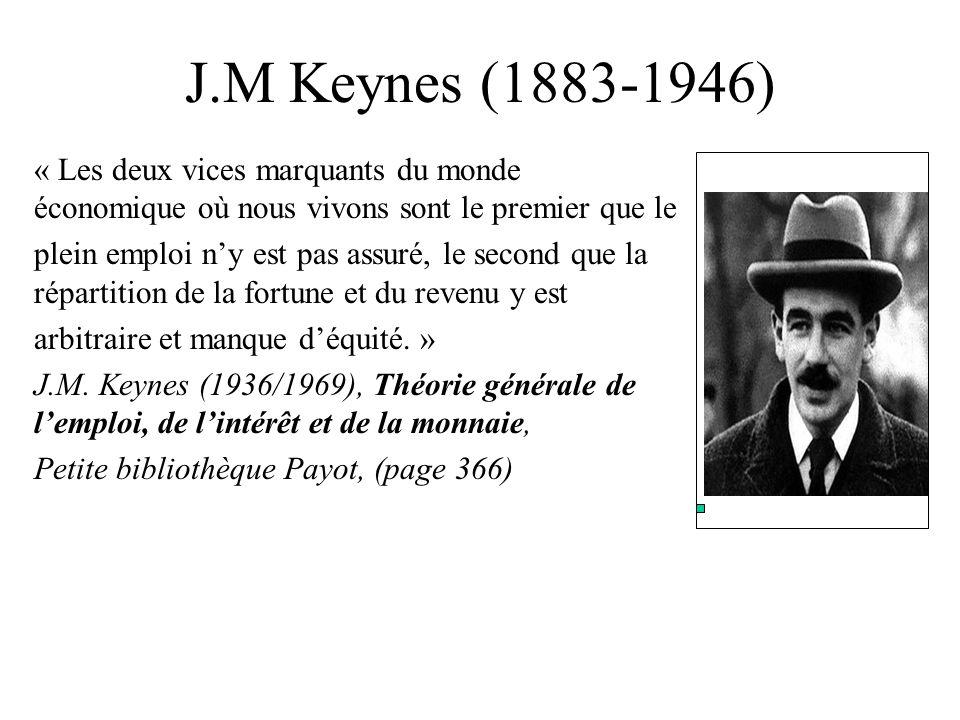 J.M Keynes (1883-1946) « Les deux vices marquants du monde économique où nous vivons sont le premier que le plein emploi ny est pas assuré, le second
