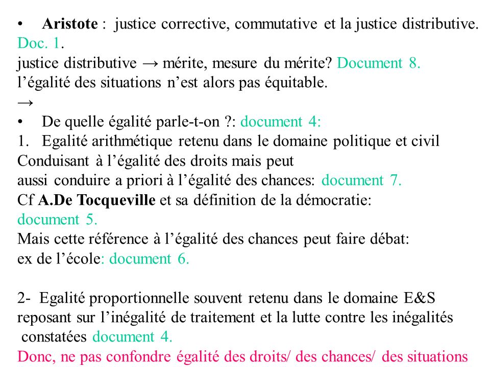 Aristote : justice corrective, commutative et la justice distributive. Doc. 1. justice distributive mérite, mesure du mérite? Document 8. légalité des