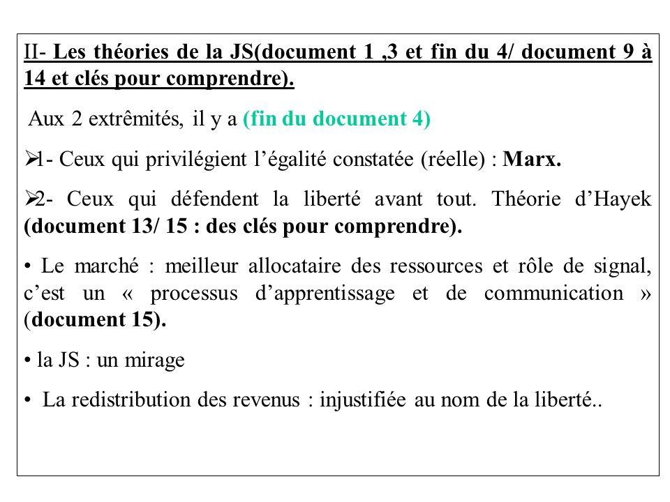 II- Les théories de la JS(document 1,3 et fin du 4/ document 9 à 14 et clés pour comprendre). Aux 2 extrêmités, il y a (fin du document 4) 1- Ceux qui
