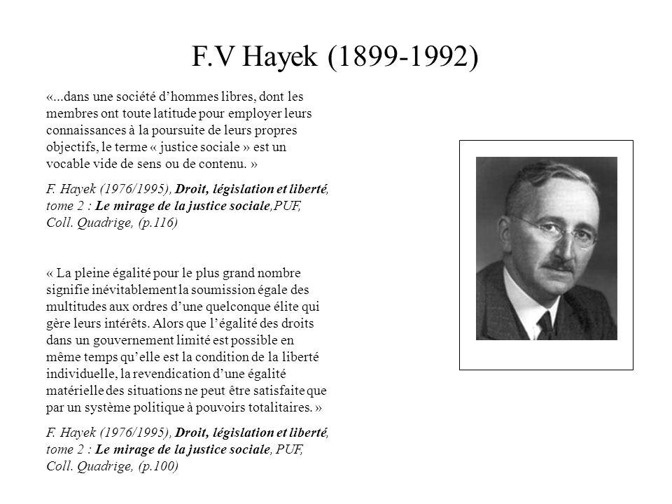 F.V Hayek (1899-1992) «...dans une société dhommes libres, dont les membres ont toute latitude pour employer leurs connaissances à la poursuite de leu