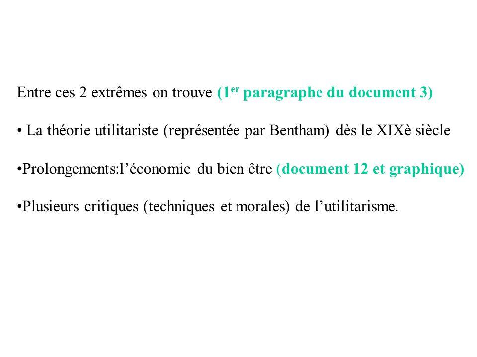 Entre ces 2 extrêmes on trouve (1 er paragraphe du document 3) La théorie utilitariste (représentée par Bentham) dès le XIXè siècle Prolongements:léco