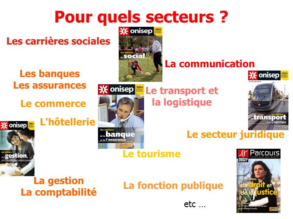 La gestion La comptabilité Le secteur juridique L hôtellerie Le transport et la logistique Le commerce La fonction publique Le tourisme Pour quels secteurs .