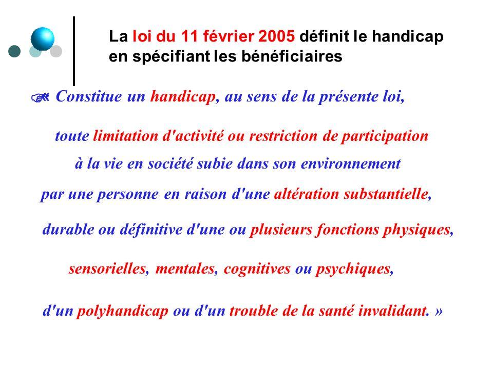 La loi du 11 février 2005 définit le handicap en spécifiant les bénéficiaires « Constitue un handicap, au sens de la présente loi, toute limitation d'