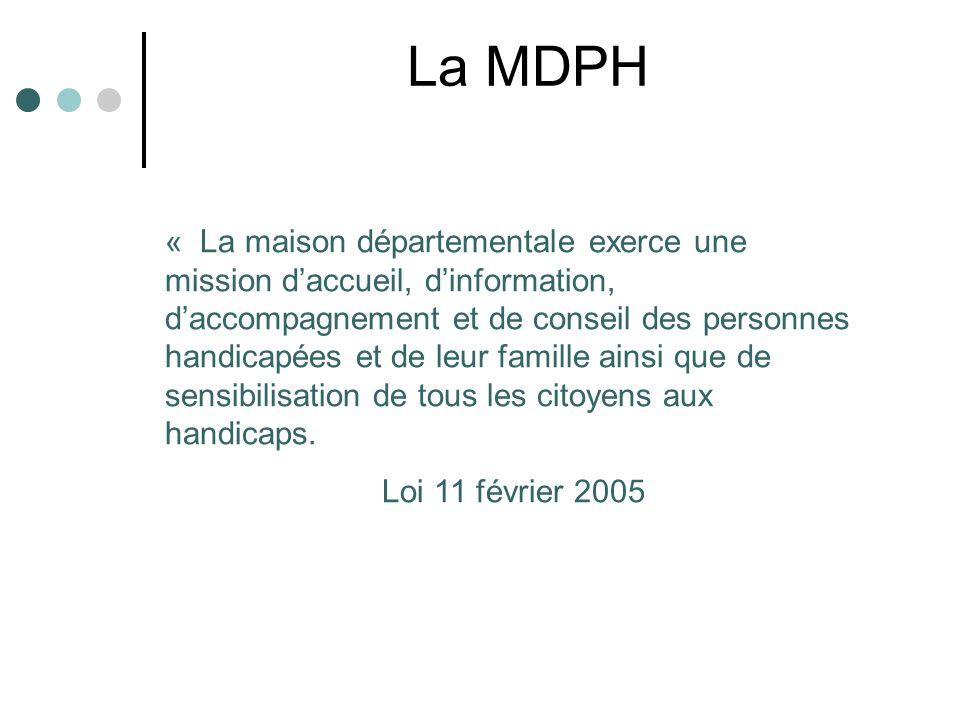 La MDPH « La maison départementale exerce une mission daccueil, dinformation, daccompagnement et de conseil des personnes handicapées et de leur famil