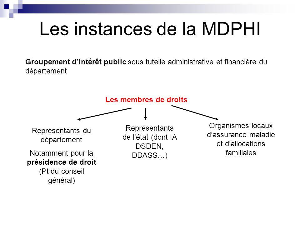 Les instances de la MDPHI Groupement dintérêt public sous tutelle administrative et financière du département Les membres de droits Représentants du d