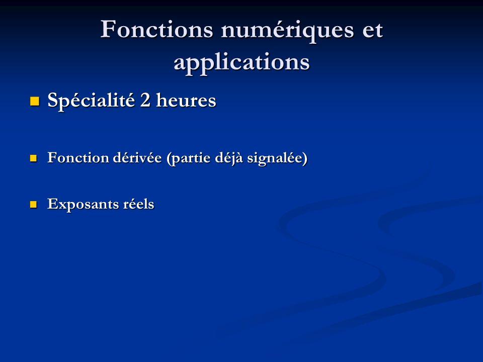 Fonctions numériques et applications Spécialité 2 heures Spécialité 2 heures Fonction dérivée (partie déjà signalée) Fonction dérivée (partie déjà signalée) Exposants réels Exposants réels