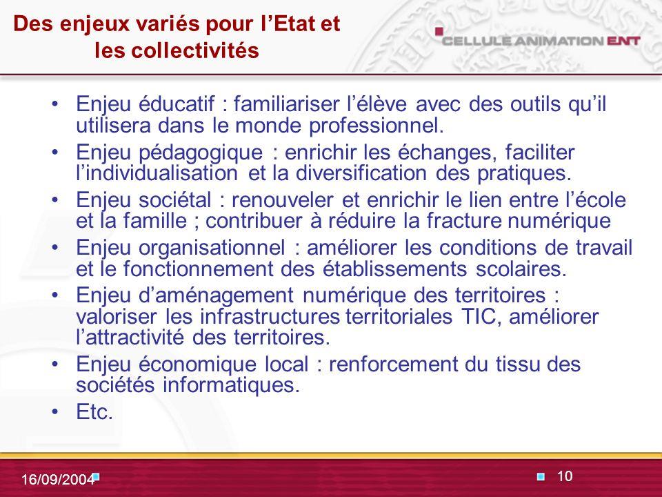 10 16/09/2004 Des enjeux variés pour lEtat et les collectivités Enjeu éducatif : familiariser lélève avec des outils quil utilisera dans le monde professionnel.