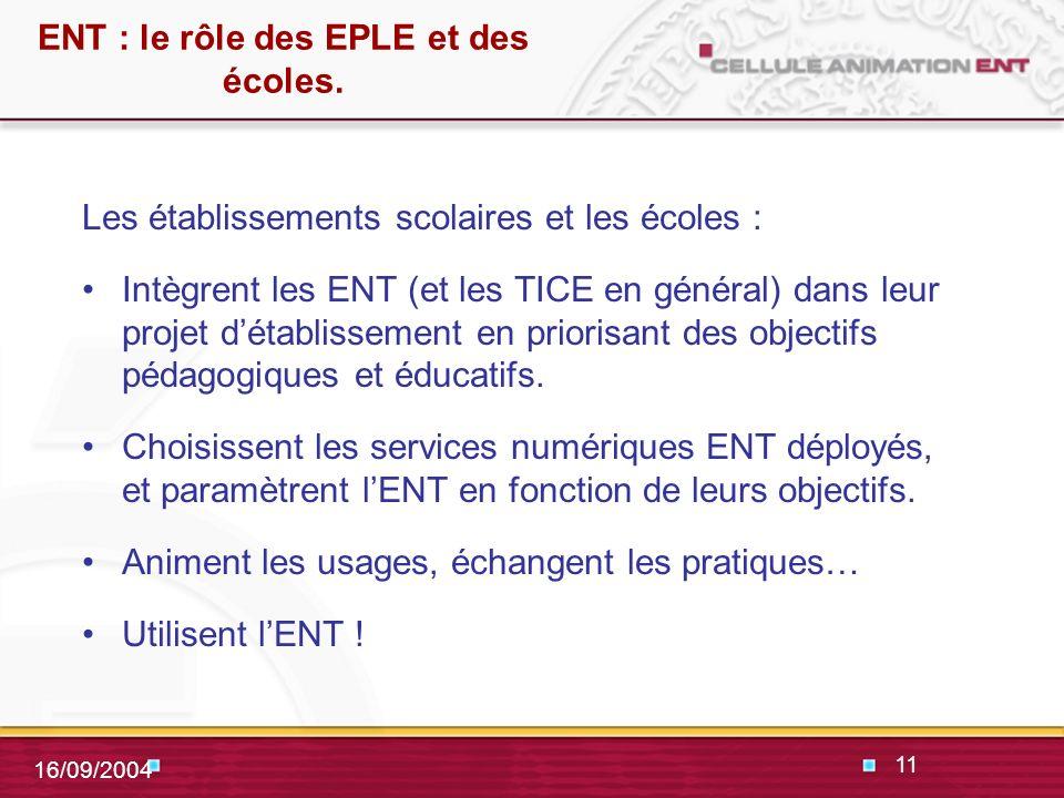 11 16/09/2004 ENT : le rôle des EPLE et des écoles.
