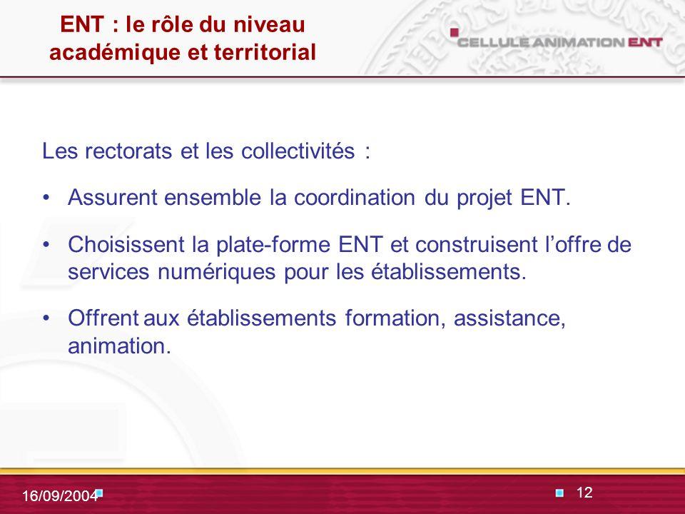 12 16/09/2004 ENT : le rôle du niveau académique et territorial Les rectorats et les collectivités : Assurent ensemble la coordination du projet ENT.