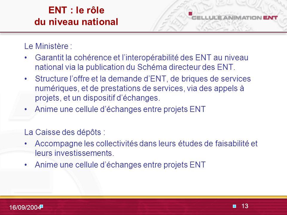 13 16/09/2004 ENT : le rôle du niveau national Le Ministère : Garantit la cohérence et linteropérabilité des ENT au niveau national via la publication du Schéma directeur des ENT.