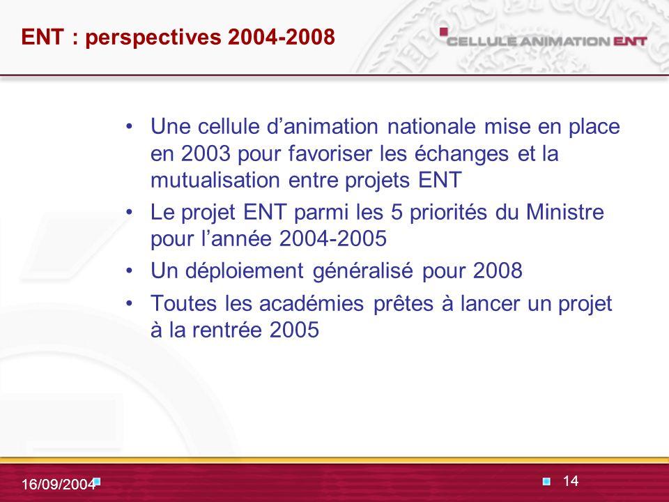 14 16/09/2004 ENT : perspectives 2004-2008 Une cellule danimation nationale mise en place en 2003 pour favoriser les échanges et la mutualisation entre projets ENT Le projet ENT parmi les 5 priorités du Ministre pour lannée 2004-2005 Un déploiement généralisé pour 2008 Toutes les académies prêtes à lancer un projet à la rentrée 2005