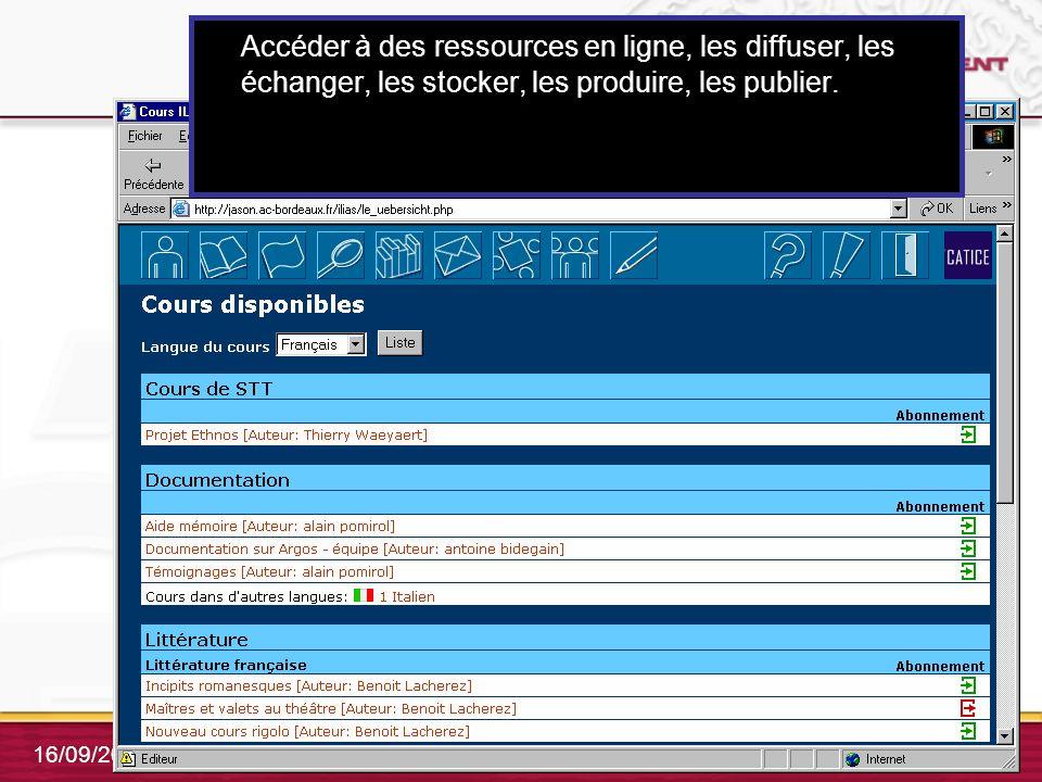 26 16/09/2004 Accéder à des ressources en ligne, les diffuser, les échanger, les stocker, les produire, les publier.