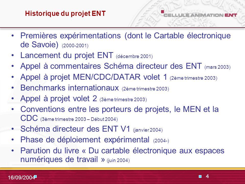 4 16/09/2004 Historique du projet ENT Premières expérimentations (dont le Cartable électronique de Savoie) (2000-2001) Lancement du projet ENT (décembre 2001) Appel à commentaires Schéma directeur des ENT (mars 2003) Appel à projet MEN/CDC/DATAR volet 1 (2ème trimestre 2003) Benchmarks internationaux (2ème trimestre 2003) Appel à projet volet 2 (3ème trimestre 2003) Conventions entre les porteurs de projets, le MEN et la CDC (3ème trimestre 2003 – Début 2004) Schéma directeur des ENT V1 (janvier 2004) Phase de déploiement expérimental (2004-) Parution du livre « Du cartable électronique aux espaces numériques de travail » (juin 2004)